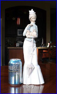 15 Lladro Figurine, Walk With the Dog #4893 Lady Holding Pekingese Dog