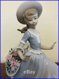 1974 Lladro #4920 Mirth In The Country Girl Running With Dog & Flower Basket