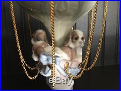 1997 Lladro Figurine Up And Away, 06524, Puppies, Hot Air Balloon, Dogs Retired