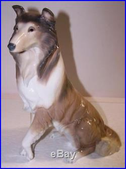 1997 Vintage LLADRO Collie Dog Porcelain Figurine Gray Brown White Seated Spain