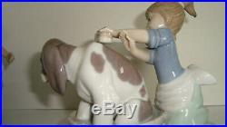 3 Porcelain Lladro Figurine Who's The Fairest Girl Dog Bath Bashful Signed Lot