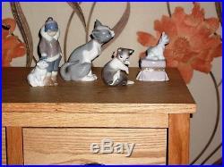 4 LLADRO figurines ESKIMO 5238 FEED ME 5113 CAT MOUSE 5236 DOG 6985 LLARDO SET