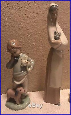 9 lladro NAO Figurine Porcelain Collection Lot Girl Boy Bunny Dog Cat Cake Phone