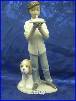 A Birthday Wish Male Boy And Dog Figurine Nao By Lladro #1738