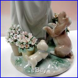 A Romp In The Garden Girl With Flowers And Puppy Dogs Figurine By Lladro #6907