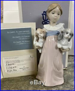 ARMS FULL OF LOVE FEMALE With Puppy DOGS BY LLADRO #6419 Hand Signed & COA MIB