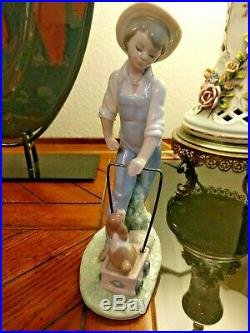 Adorable Lladro # 6021 SATURDAYS CHILD LIttle Boy with His Dog and Wagon