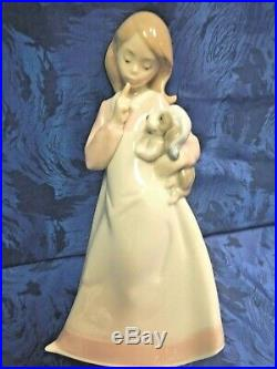 And Now To Bed Sleepy Female Girl And Dog Porcelain Figurine Nao By Lladro #1478