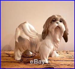 Authentic Retired Lladro Glazed Lhasa Apso Tibetan Terrier Dog Figurine #4642