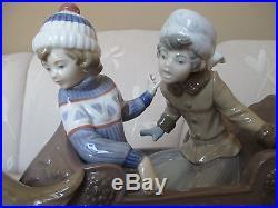 Beautiful LLADRO Sleigh Ride Dog Pulling Boy & Girl Figurine