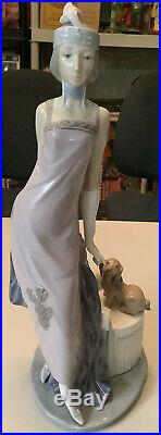 Beautiful Large 13.5 1982 Lladro #5174 Couplet Lady Flapper Dog Retired Figure
