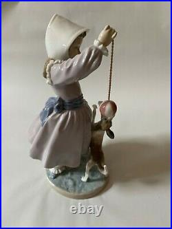 Beautiful Lladro Girl with dog and ball