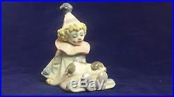 Beautiful Rare Lladro Figurine 5277 Pierrot (Clown) with Puppy Dog