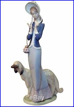Bid Now. Lladro Stepping Out 1988 wBox Mint. Elegant Woman With Afghan Dog