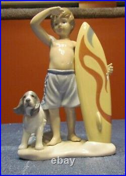 COWABUNGA! LLADRO #8110 SURF'S UP CHILD-DOG & BOARD-EXCELLENT/MINT with O. BOX
