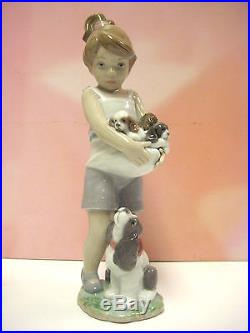 Can I Keep Them All Girl With Puppy Dogs Annual 2013 Figurine By Lladro #8690