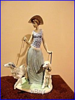 Elegant Promenade Woman With Dogs On Leash Figurine By Lladro 5802