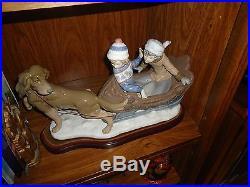 Estate Sale Vintage Lladro Porcelain Sleigh Ride Dog pulling Sled with Children