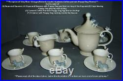 Exceptional Vintage Retired Lladro 14 Pieces Coffee Set Puppy Dogs Theme RARE