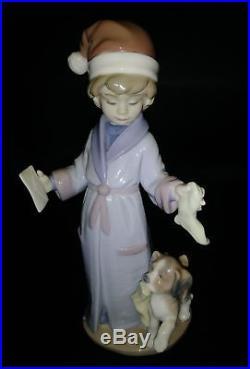 FLAWLESS Lladro Figurine #6166 Dear Santa Boy with Letter and Dog 8.5 TALL