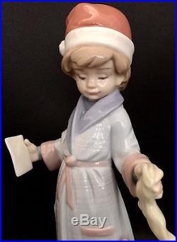 FREE FAST SHIPPINGLladro Dear Santa Boy withDog (6166 Mint Condition) Christmas