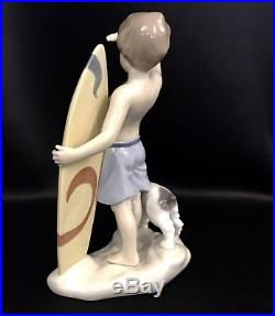 FREE SHIPPINGLladro Surfs Up Surfer Boy withDog (8110 Mint in Box) Christmas