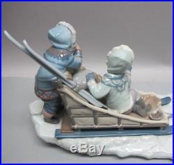 Fine MINT 25 LLADRO Onward Figurine #1742 Children with Dog Sled c. 1993