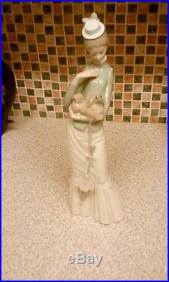Genuine Lladro My Dog Lady With Parasol Holding Pekinese Dog 14 Inches Tall
