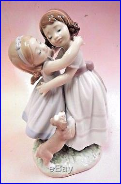 Give Me A Hug! Girls Hugging With Puppy Dog Figurine By Lladro #8046