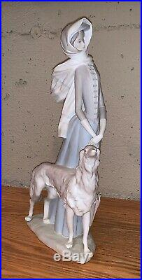 HUGE 15.5 RETIRED MINT LLADRO LADY WOMAN WALKING AFGHAN HOUND DOG With PARASOL