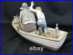 HUGE! LLADRO #5215 SPAIN FISHING WithGRANDPA PORCELAIN FIGURINE BOY DOG BOAT