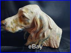 HUGE VTG 1970S Lladro Setter's Head #2045 Gres Dog Beautiful colors 12 LONG