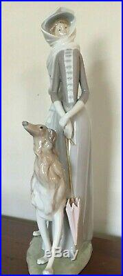Huge 15.5 Inch Retired Mint Lladro Lady Woman Walking Afghan Hound Dog No Box