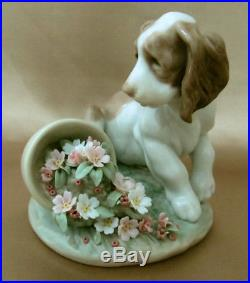 IT WASN'T ME! Dog Puppy Flowers Original Box LLADRO Figurine 7672 MINT RETIRED