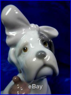It's Mine Dog Bulldog Bow Bottle Porcelain Figurine Nao By Lladro 1728