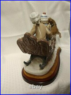 LARGE LLADRO 5037 SLEIGH, CHILDREN & DOG FIGURINE with WOOD BASE over 17