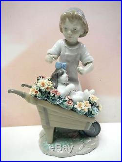 Let's Go For A Ride Girl With Dog In Wheelbarrow Flowers 2014 By Lladro #9133