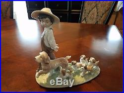 Little Explorers Boy With Puppy Dogs Figurine By Lladro #6828