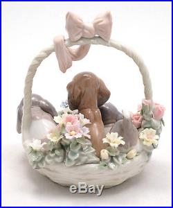 LLADRO 1441 A LITTER OF LOVE DOGS & PUPPIES In BASKET