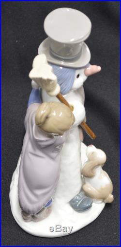 LLADRO 1989 Snowman Girl Boy Dog Figurine 5713 NICE
