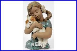 LLADRO #2355 Gabriela Girl with Dog Puppy Gres Mint with Base