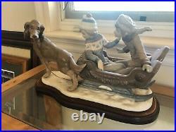 LLADRO 5037 Children Sleigh Ride With Dog