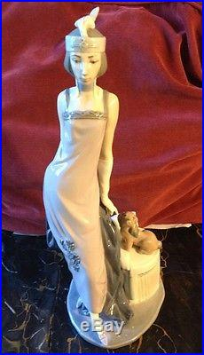 Lladro #5174 Couplet Lady Dog 1920's Flapper Retired Mint