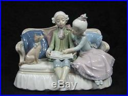 Lladro 5229 Story Time Children & Dog On Sofa Figurine