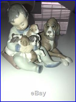 LLADRO 5456 PLAYMATES FIGURINE SPAIN BOY PUPPIES DOG Adorable