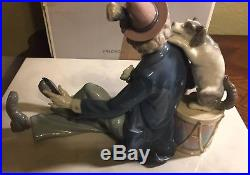 LLADRO 5763 Musical Partners Man with Dog and Box Retired in 1995