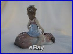 LLADRO #6229 CONTENTED COMPANION Girl Brushing and Sitting on Dog
