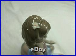 LLADRO 6229 Contented Companion Porcelain Figurine Girl Brushing Dog Rare