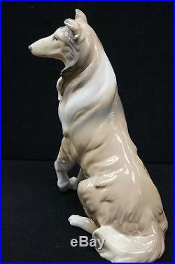 LLADRO #6455 Collie Porcelain Figurine RETIRED, Sitting Collie Dog, NO BOX