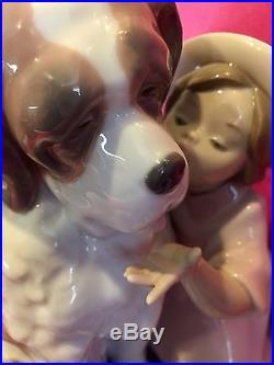 Lladro #6632 Birthday Kiss Girl Dog Large Rare Find! St Bernard Cake Spain